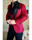 Red Shawl  Lapel Jacquard Tuxedos Mens Suits Dinner Jacket 3 Pieces