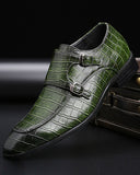 Green /Black Business Luxury Formal Shoes Fashion Men Dress Casual Crocodile Skin  italian patent Shoes