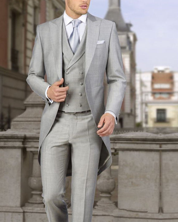 light gray custom made suit tuxedo long Swallow tail Coat groom wedding suit 2019 three piece Jacket+Pants+Vest