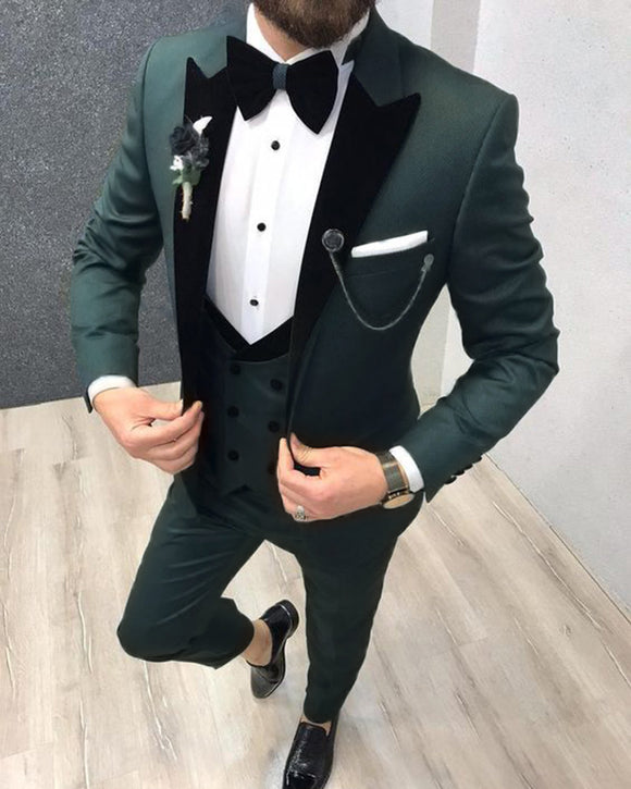 Velvet Lapel Dark Olive Green Wedding Tuxedo /Suits For Goomsmen 3 Pieces CB8785