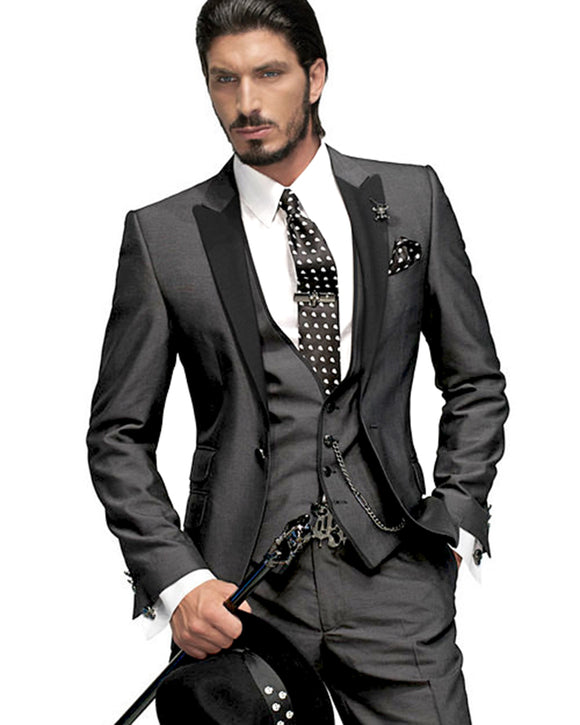 Gorgeous Shiny Dark Gray Men Tuxedos for Groom 3 Pieces CB6544