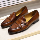 Summer Autumn Men's Dress Loafers Genuine Leather Hand Painted Monk Strap Men's Dress DS0706