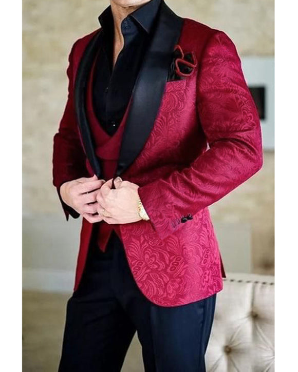 Jacquard Burgundy Prom Party Tuxedos Formal Dinner Blazer Suits 3 Pieces (Jakcet+vest +pants)CB08013)