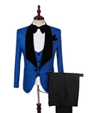 Shawl Lapel Jacquard  Blue Suit for Men Blazer Prom Jacket Pants four Pieces(Jacket +Pants+vest +bow tie)