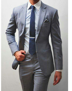Custom  Grey Tan and Slate Groom Suit for men Wedding notch lapel Formal Prom Suit 2 Pieces