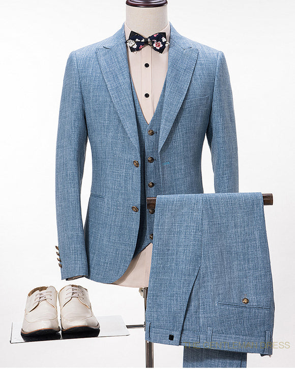 Blue Linen Wedding Suits Groom Beach Wedding Blazer Out fits 3 Pieces (Jacket+vest+Pants) CB10326