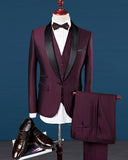 Black and Burgundy Groom Suit for Wedding Prom Tuxedo for men Shawl Lapel 3 Pieces
