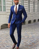 Dark Royal Blue Slim Fit Men Dress Suits Groom wedding tuxedos 2 Pieces (jacket+pants))