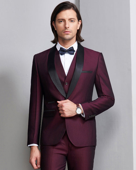 High Quality Wine Shawl lapel Prom Men Tuxedo Groom Mens Suits 3 pieces (Jacket+Pants+vest)
