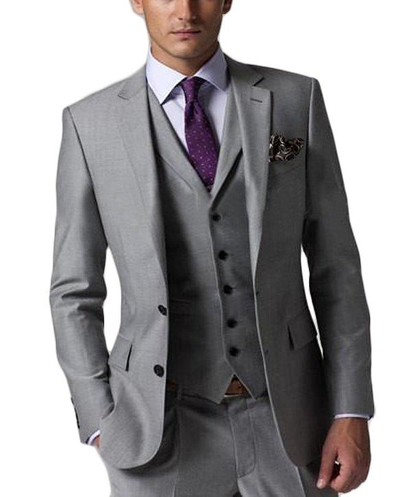 Grey Suit Men 2019 3 Pieces Groom Wedding Tuxedos Suits (Jacket Pant Vest)