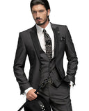 Peak Lapel Black Wedding Groom Suit Mens 3 Pieces Prom Tuxedo (Jacket +Pants +vest)