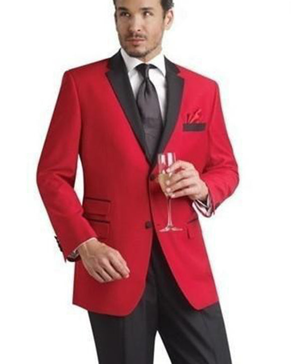 Red Prom Suit with Black Satin Lapel Red Tuxedo for Men