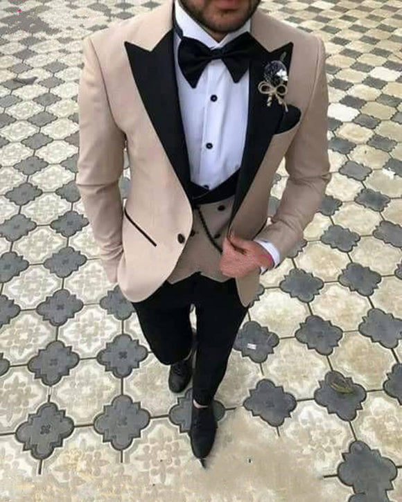 Champagne Peak Lapel Blazer Suit Groom Wedding Prom Suits Tuxedo three Pieces (Jacket +pants +vest)