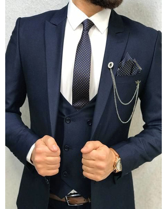 Classic Navy Groomsmen Wedding Dress Suits /Tuxedo 3 Pieces (jacket+pants +vest)CB6688
