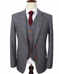 Wool Grey Tweed British  custom made Sports Suits for Men  wedding Groom suits 3  piece
