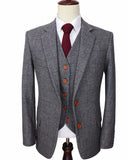 Wool Grey Tweed British  custom made Sports Suits for Men  wedding Groom suits 3  piece CB102101