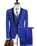 Royal Blue Men Blazer Coat Pant Shawl Lapel Groom Tuxedos Suit Male 3 Pieces Suit