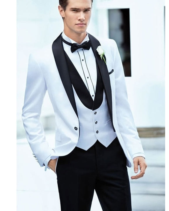 White and Black Shawl Groom Suit for Wedding Men Formal Tuxedos 3 Pieces(jacket+pants+vest)