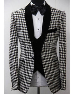Elegant 3 Piece Suit 2018 Morning Dinner Party Prom Suit Houndstooth Groom Wedding Men Suit Blazer Slim Fit Best Man Tuxedo