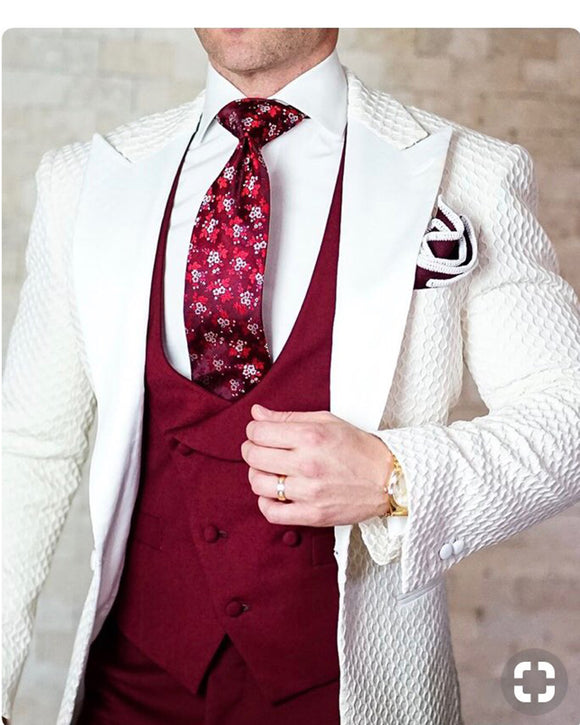 2019 Elegant Brand Slim Fit Smoking Suit Men Costume 3 Pieces Homme White Prom Tuxedo Groom Suits