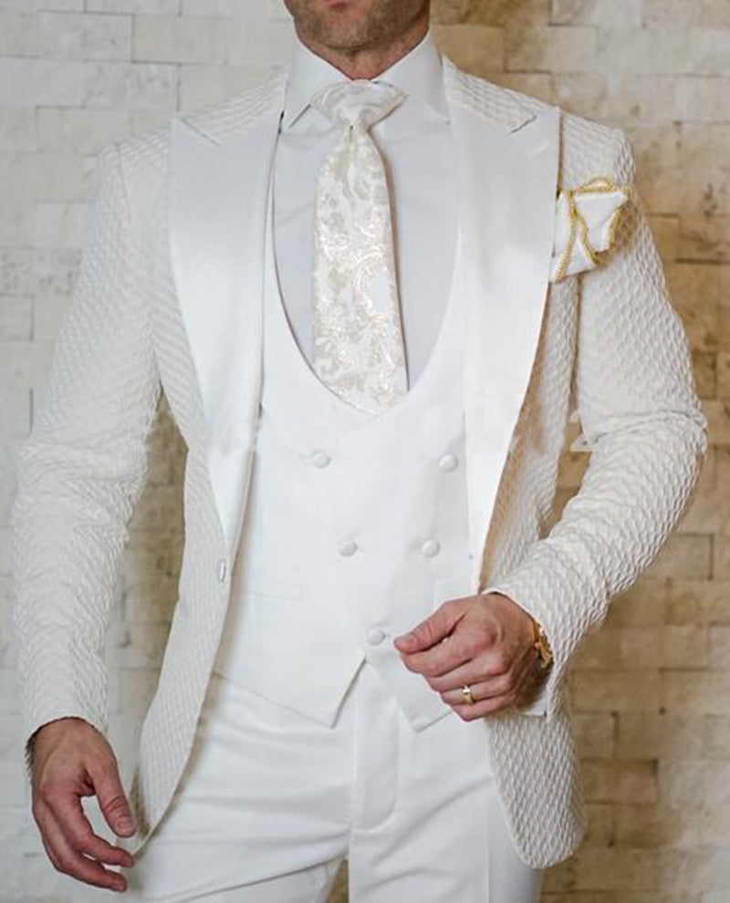 lovely design famous brand big selection 2019 Elegant Brand Slim Fit Smoking Suit Men Costume 3 Pieces Homme White  Prom Tuxedo Groom Suits