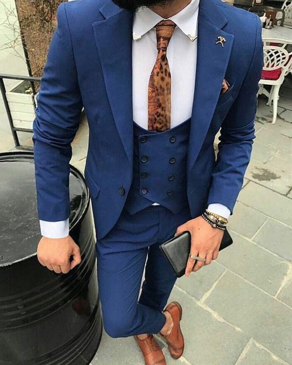 Navy Blue Slim Fit 3 Pieces 2019 New Wedding Suit Formal Prom Mens Dress Suit (Jacket+pants+vest)CB684