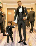 Shawl Lapel Gray and Black Wedding Suit Groom Men Tuxedos 3 Pieces (pants+jacket+vest)