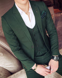 Dark Green Mens Blazer Suits Slim 3 Pieces Sets Italian Stylish Designer Party Suits (Jacket +pants+vest) CB544