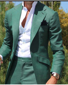 Green Men's Dinner Party Prom Suit Groom Tuxedos Groomsmen Wedding Blazer Suits for men Stylish Green (Jacket+Pants)