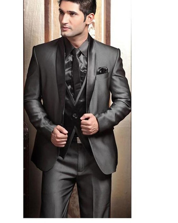 Wedding Tuxedos suits for Men Modern Best man Suit Grey formal Suit Groom Tuxedo Mens Suit Jacket+Pants+Tie+Vest