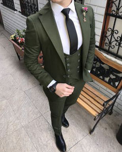Dark Green North Lapel Wedding Suit for Groom Costume 2019 CB214