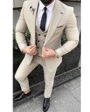 Peak Lapel Beige Wedding Tuxedo Three Pieces Groom Suits CB674