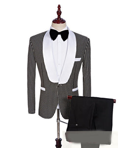 Shawl Lapel Wedding Black and White Dot  Prom Tuxedo Men Blazer CB654