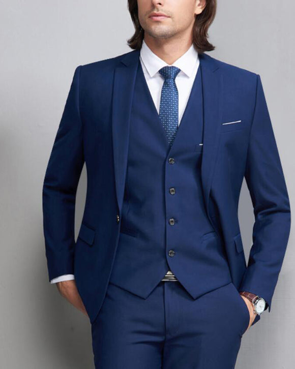 Royal Blue Groom Suit for Wedding Men formal Dress Suit 3 Pieces (Jacket+pants+vest)
