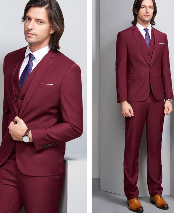 Burgundy Three Pieces Wedding Suit for Men Groomsmen Tuxedo CB112