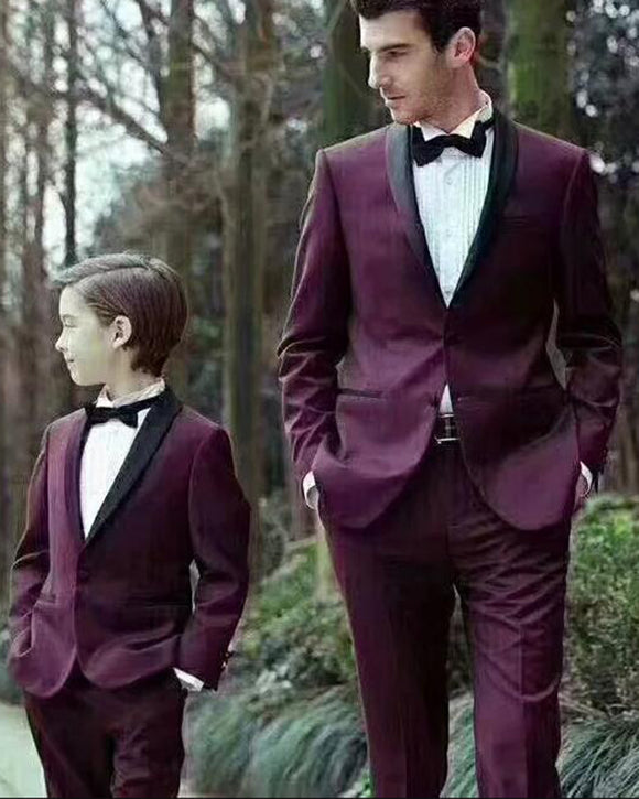 Maroon Burgundy Wedding Tuxedo Grooms Suit for Men Two Pieces 2019 (jacket+pants)