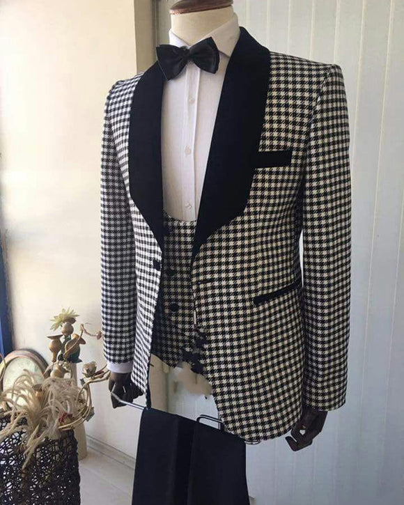 Lapel Shawl Checks Prom Suit 3 Pieces Wedding Tuxedo for Men 2019 (Jacket+vest +pants)