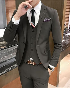 Gray Three Pieces Men Wedding Suits Prom Party Outfit for Man CB654(jacket +pants+vest)