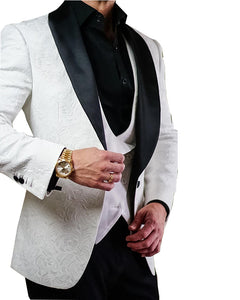 Ivory/White Print Wedding Suit for Men with Black Lapel Shawl 2 Pieces(pants +jacket+bow)