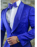 Royal Blue Groomsmen Paisley Pattern Tuxedos Shawl Lapel Men Suits Wedding/Prom Best Man Blazer 2 Pieces(Jacket +Black pants)