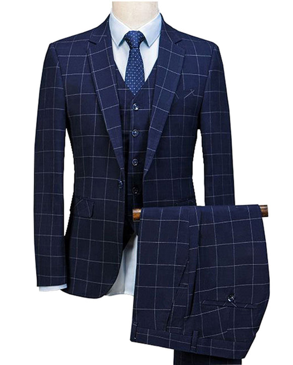 2020 Navy  Blue 3 Pieces Mens Suits Plaid Slim Fit Wedding Suits Groom Tuxedos  (Jacket+Pants+Vest)