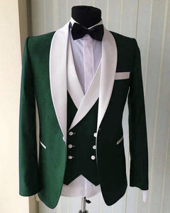 Dark Green Groomsmen Tuxedo Prom Suit for Men 3 Pieces men outfit (jacket+pants+vest)