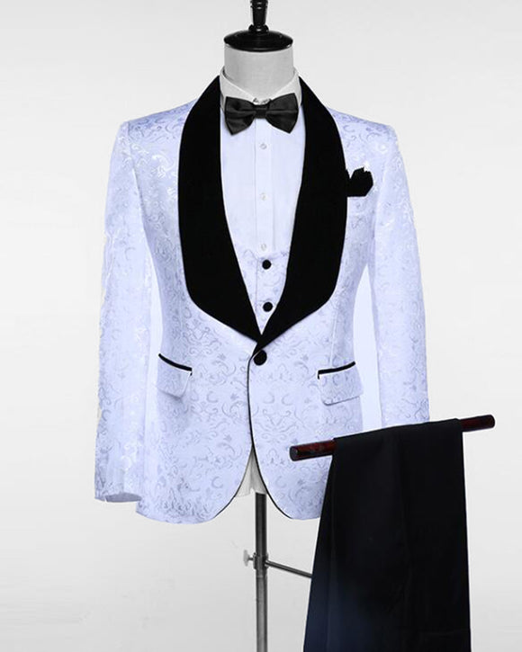 White/Black Shawl Lapel 3 Pieces Groomsmen Suit Men Blazer(jacket+pants+vest) WX212