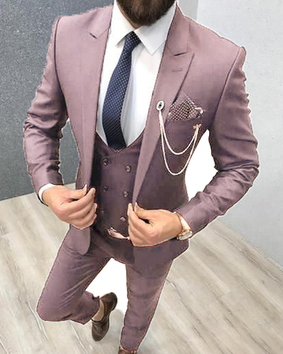 Classyby New 2021 Vanilla Rose/mauve  Groomsmen Dress Suits /Tuxedos for Wedding CB7845(jacket+pants+vest))