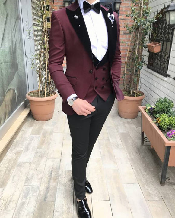 Burgundy Slim Fit Blazer Jacket Suits with Black Velvet Lapel 3 Pieces(Jacket+vest+pants) CB0617