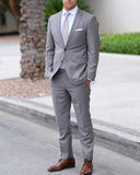 Steel Gray Wedding Tuxedo Two Pieces Jacket Pants Men Suits 2019 CB3321