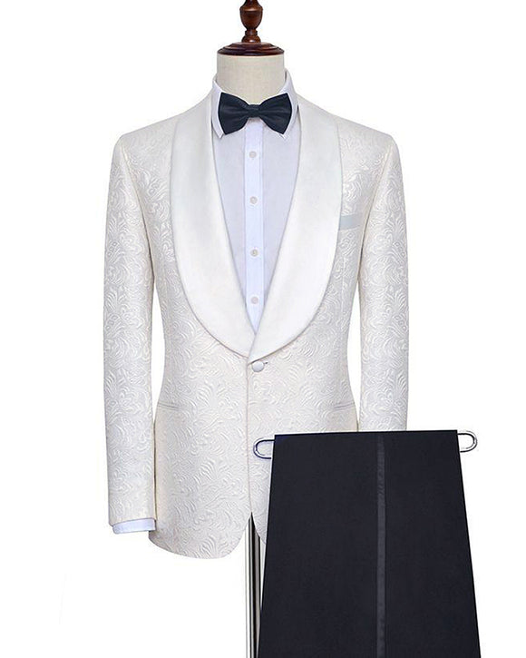 Ivory Shawl Lapel Groom Suits Paisley Pattern Tuxedos for Wedding 2 Pieces  Jacket+ Black Pants with Stripe CB10106