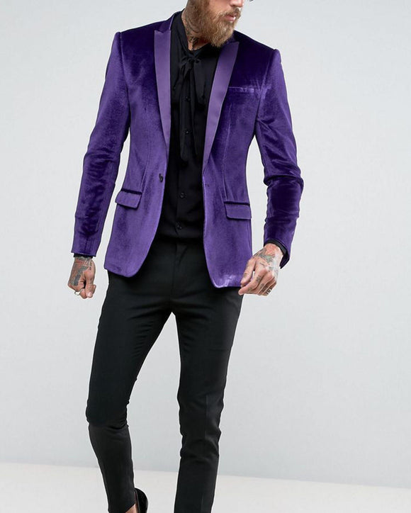 Peak Lapel Purple Velvet Blazer Formal Men Prom Suit 2 Pieces (Jacket +pants) WX213