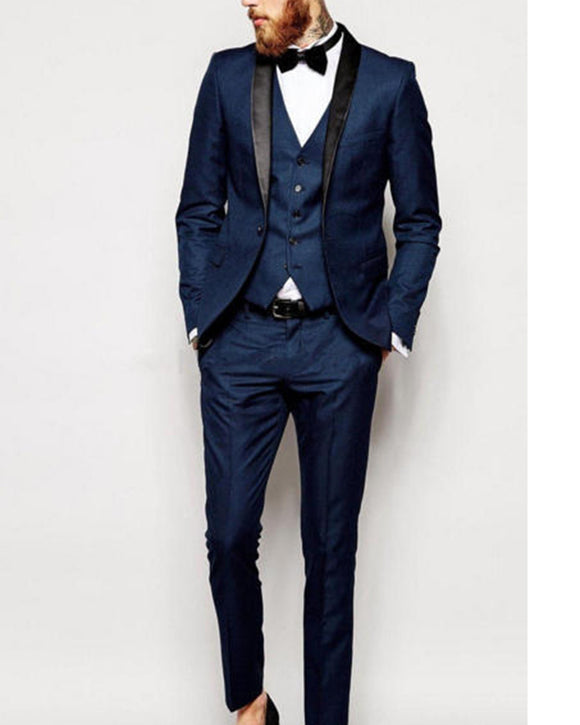 Navy Blue Wedding Suit for Groom Shawl Lapel Tuxedo 3 Pieces (Jacket+pants + vest)