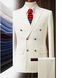 Peak Lapel Double Breast Beige Stripe Men Wedding Suit for Men 2 Pieces(Jacket + pants )